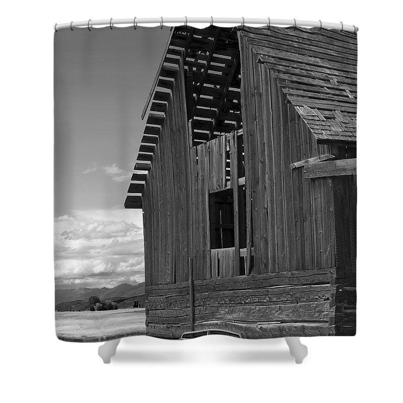 Sandra Bronstein Shower Curtain featuring the photograph Montana Weathered Barn by Sandra Bronstein