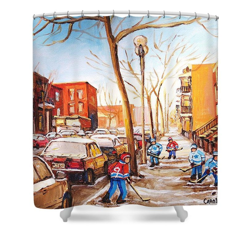 Montreal Street Scene With Boys Playing Hockey Shower Curtain featuring the painting Montreal Street With Six Boys Playing Hockey by Carole Spandau