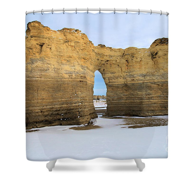 Monument Rocks Shower Curtain featuring the photograph Monument Rocks Arch by Adam Jewell