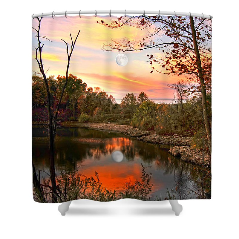 Moon Reflection Shower Curtain featuring the photograph Moon And Pond by Randall Branham