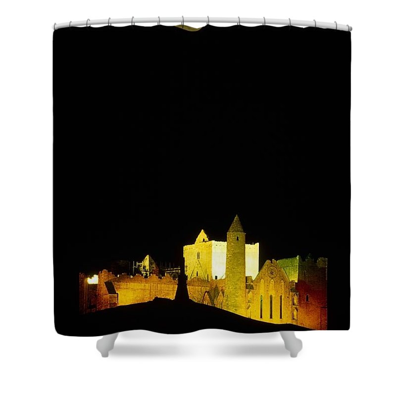 Cashel Town Shower Curtain featuring the photograph Moon Over Rock Of Cashel, Co Tipperary by The Irish Image Collection
