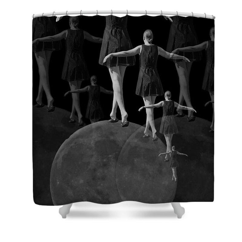 Moon Shower Curtain featuring the digital art Moon Walking by Betsy Knapp