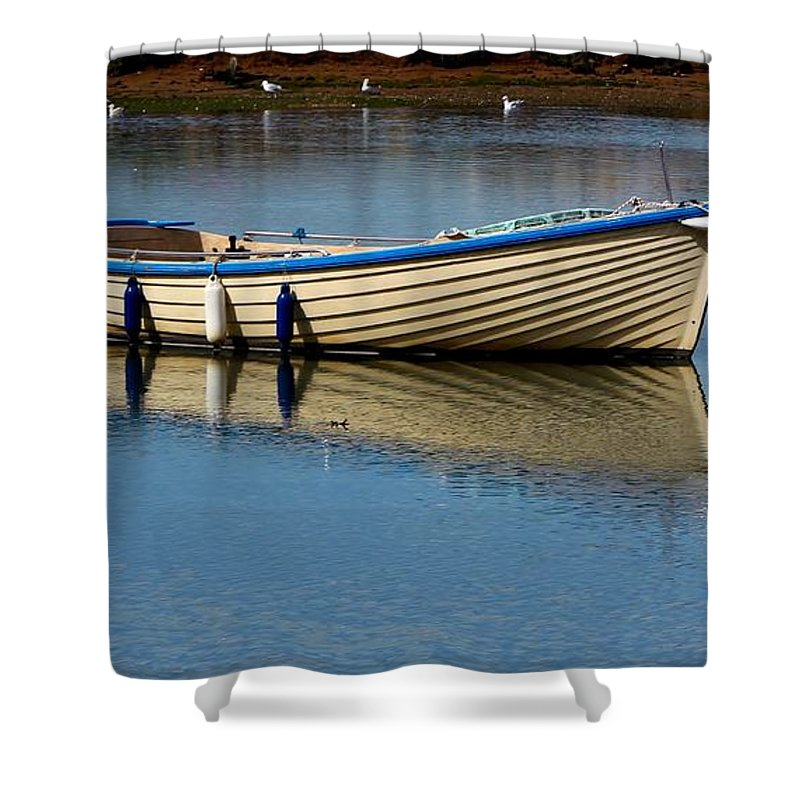 Boat Shower Curtain featuring the photograph Moored And Ready by Rene Triay Photography