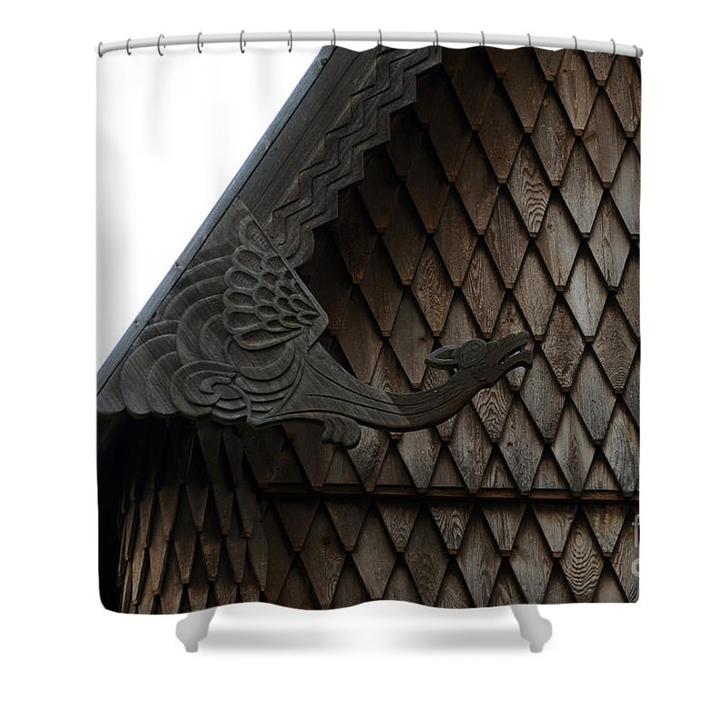 Moorhead Stave Church Shower Curtain featuring the photograph Moorhead Stave Church 12 by Cassie Marie Photography