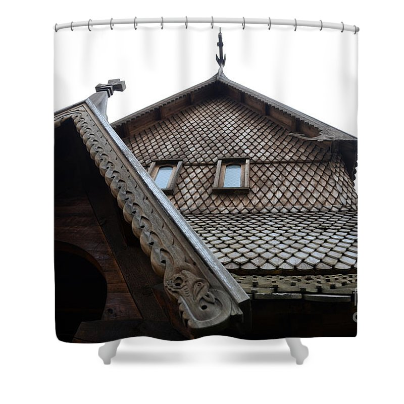 Moorhead Stave Church Shower Curtain featuring the photograph Moorhead Stave Church 13 by Cassie Marie Photography
