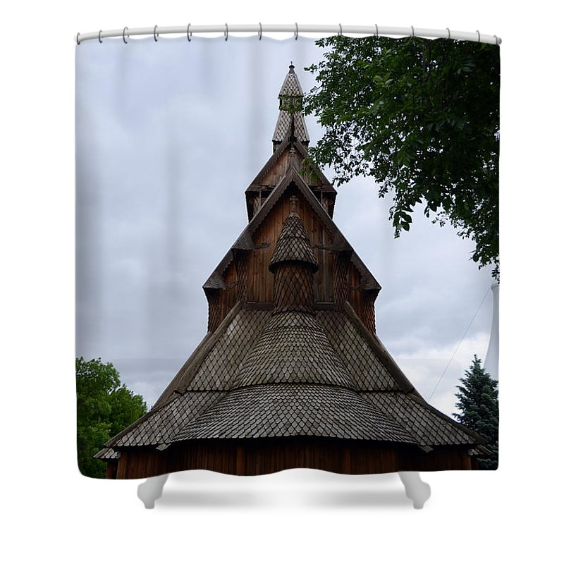 Moorhead Stave Church Shower Curtain featuring the photograph Moorhead Stave Church 7 by Cassie Marie Photography