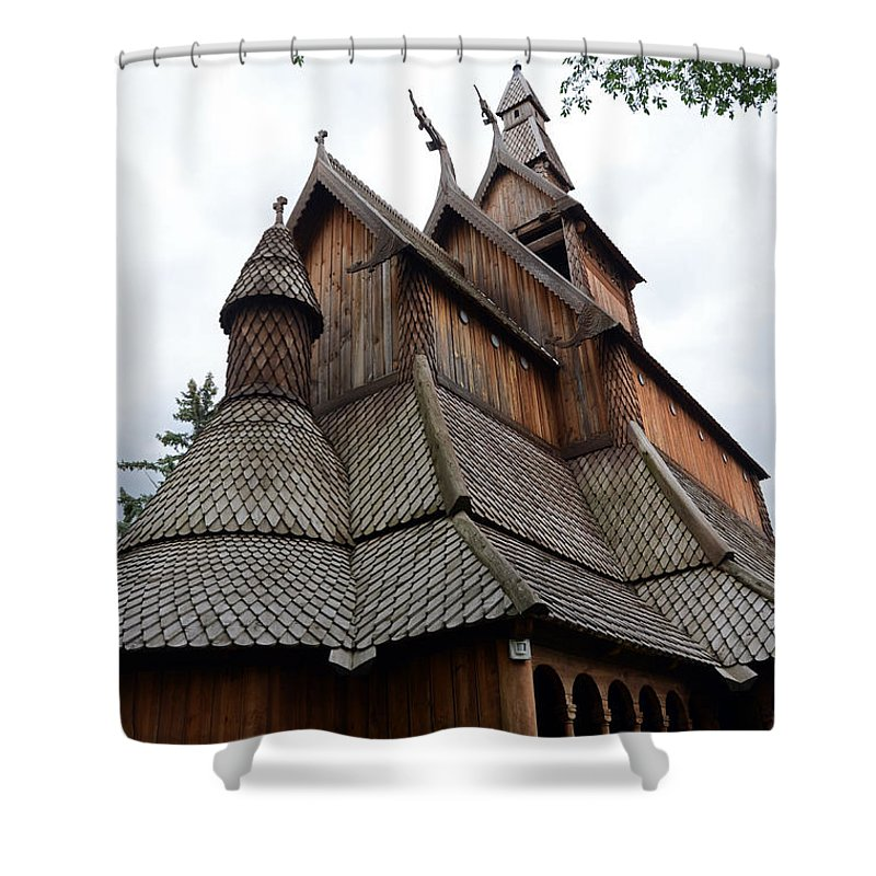 Moorhead Stave Church Shower Curtain featuring the photograph Moorhead Stave Church 8 by Cassie Marie Photography