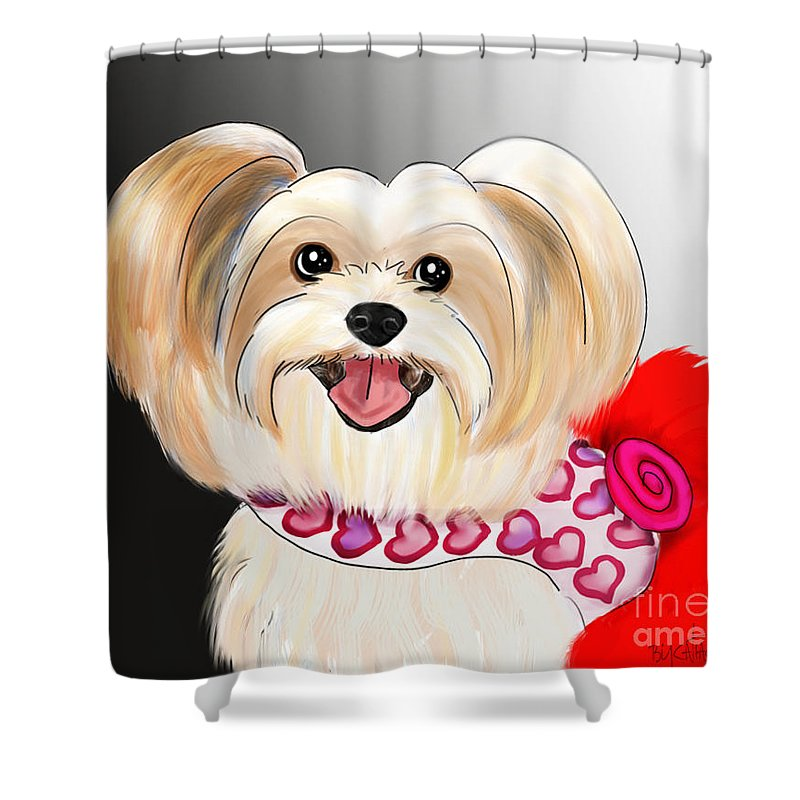 Morkie Shower Curtain featuring the mixed media Morkie Valentine by Catia Lee