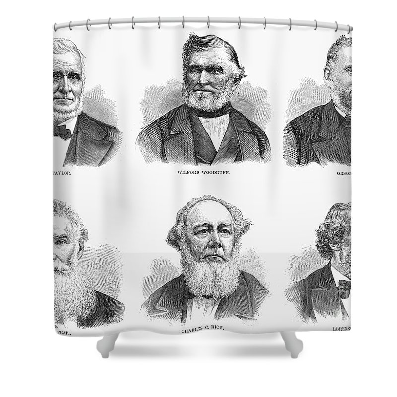 1877 Shower Curtain featuring the photograph Mormon Apostles, 1877 by Granger