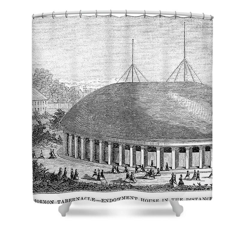 1870 Shower Curtain featuring the photograph Mormon Tabernacle, 1870 by Granger