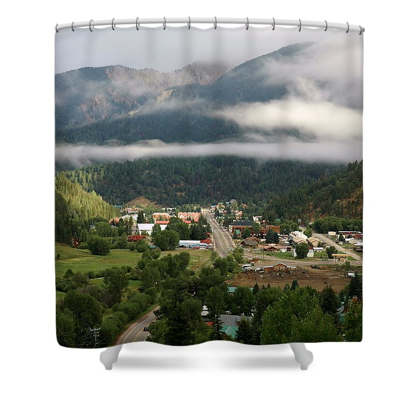 Red River Shower Curtain featuring the photograph Morning Clouds Over Red River by Ron Weathers