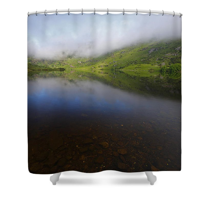 Morning Shower Curtain featuring the photograph Morning Mist Over Gougane Barra Lake by Trish Punch