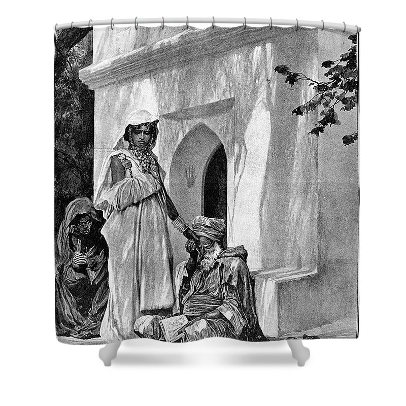 1893 Shower Curtain featuring the photograph Morocco: Fortune Teller by Granger