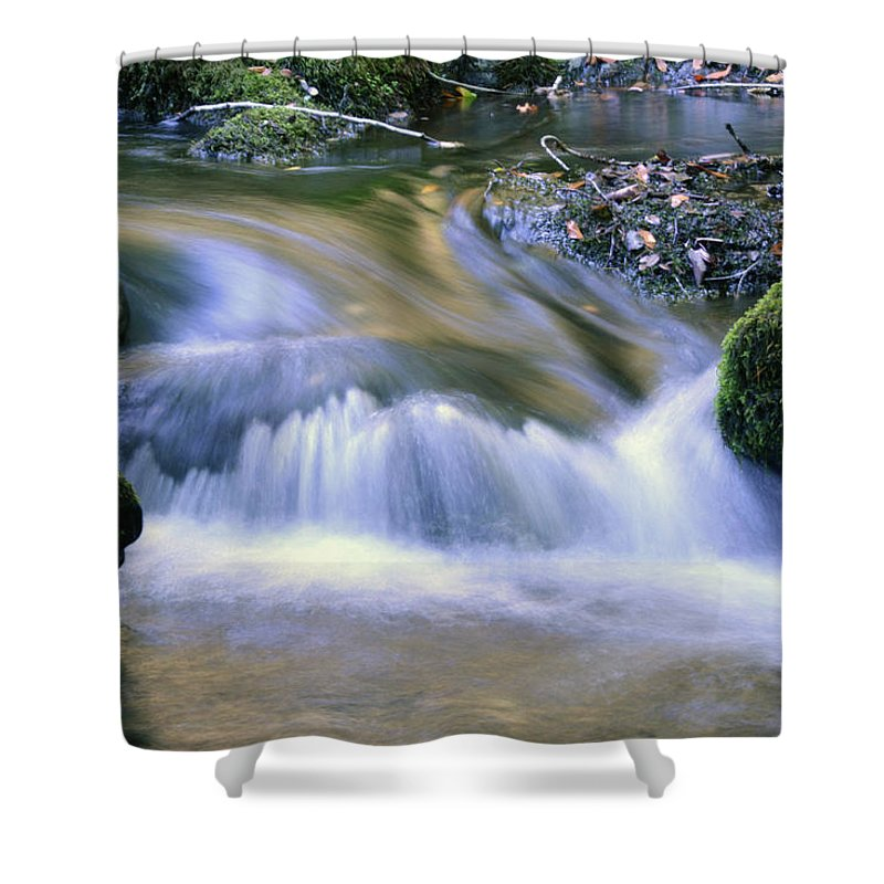 Water Shower Curtain featuring the photograph Mossy Rocks by Zawhaus Photography