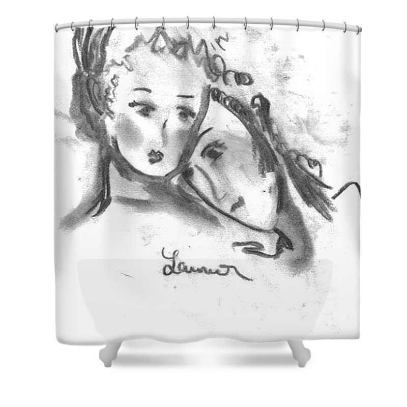 Mother Shower Curtain featuring the drawing Mother Daughter by Laurie Lundquist