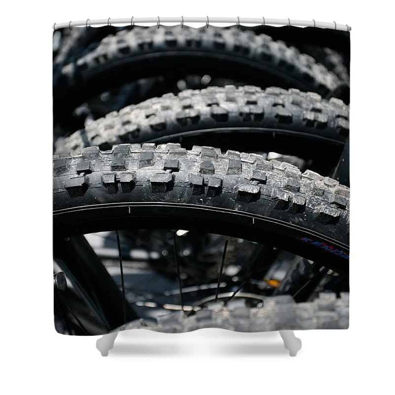 Tire Shower Curtain featuring the photograph Mountain Bike Tires by Gaspar Avila