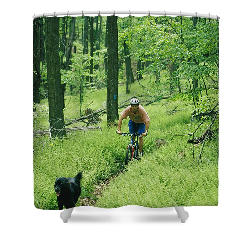 Forbes State Forest Shower Curtain featuring the photograph Mountain Biker And Dog On Single Track by Skip Brown