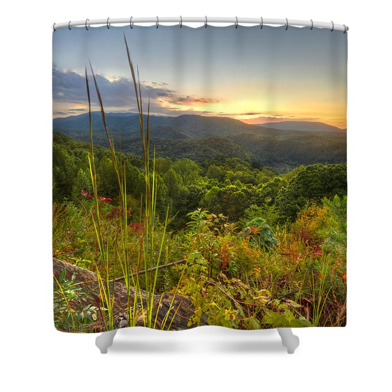Benton Shower Curtain featuring the photograph Mountain Evening by Debra and Dave Vanderlaan