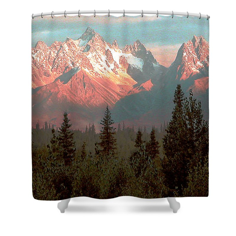 Pink Shower Curtain featuring the photograph Mountain Glow by Peggy Starks