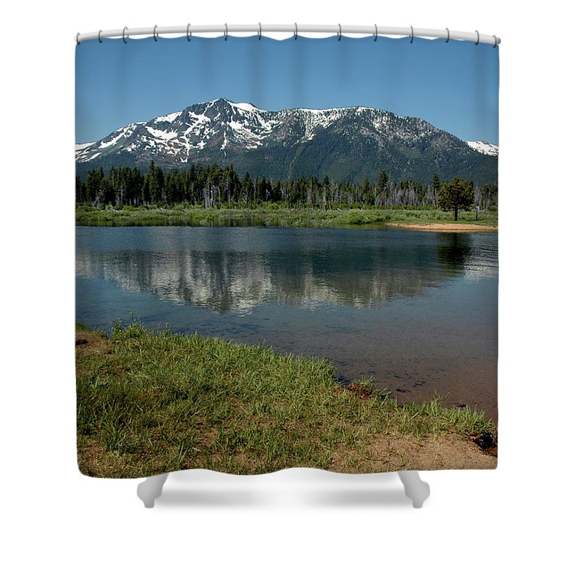 Usa Shower Curtain featuring the photograph Mountain Tallac Dive In by LeeAnn McLaneGoetz McLaneGoetzStudioLLCcom