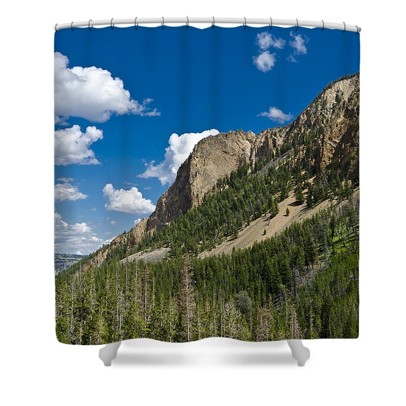 Yellowstone National Park Shower Curtain featuring the photograph Mountain View by Jon Berghoff