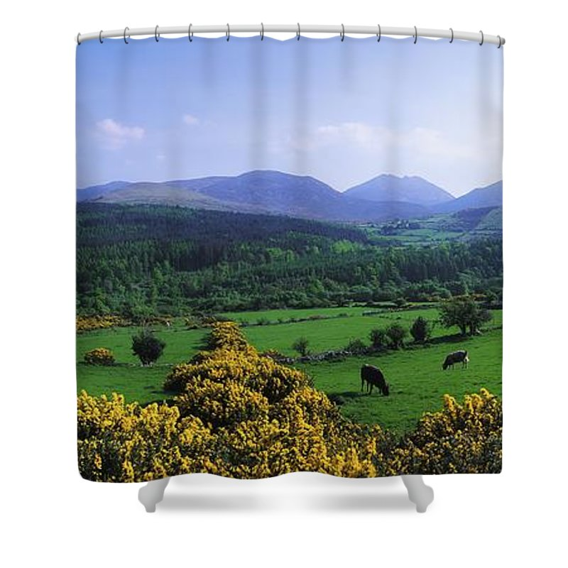 Blue Sky Shower Curtain featuring the photograph Mourne Mountains, Co Down, Ireland by The Irish Image Collection