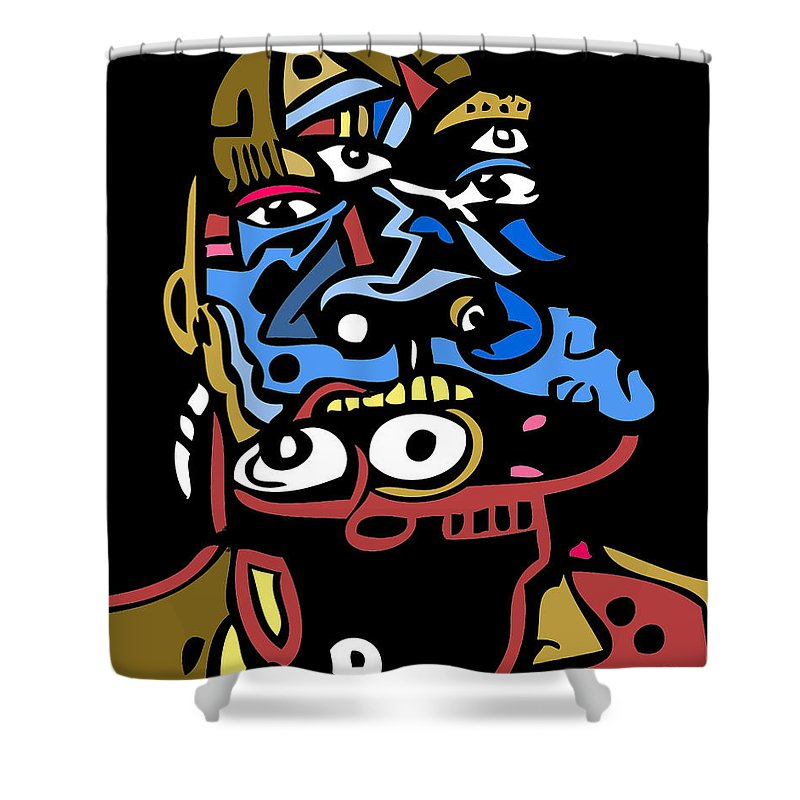 Faces Shower Curtain featuring the digital art Mouthful Full Color by Kamoni Khem