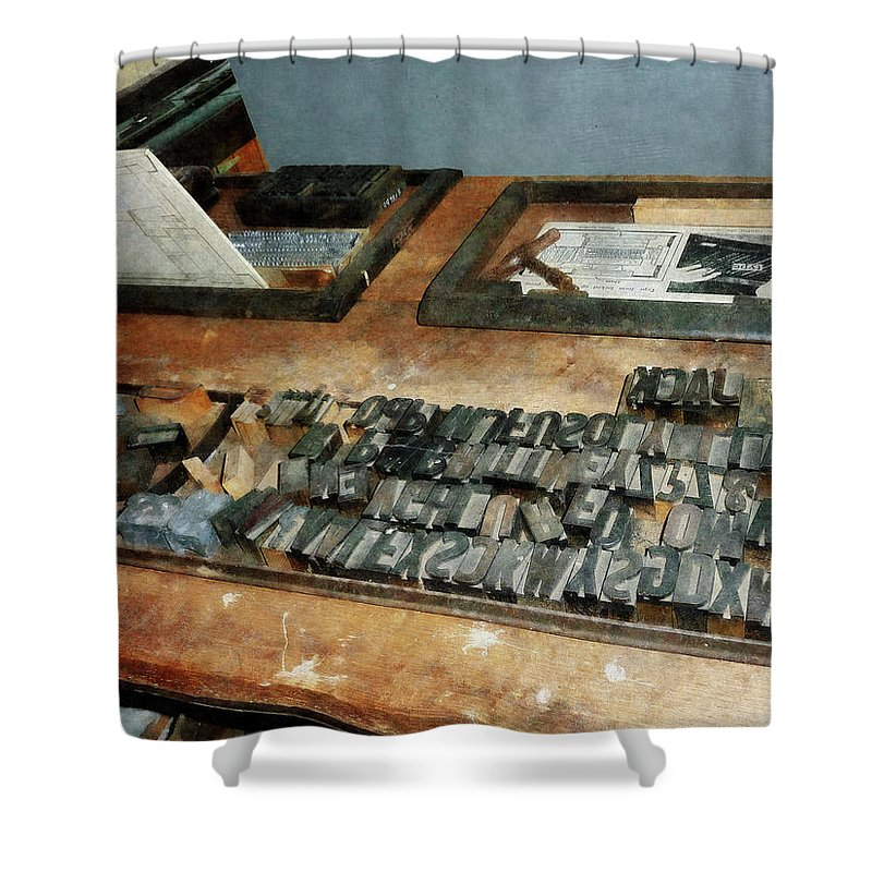 Printer Shower Curtain featuring the photograph Movable Type by Susan Savad