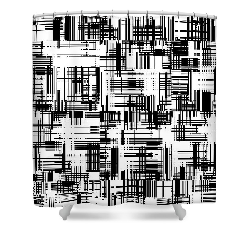 Moveonart! Global Gathering. Branch barcoded Digital Abstract Art By Artist Jacob Kane Kanduch -- Omnetra Shower Curtain featuring the digital art Moveonart Barcoded by Jacob Kanduch