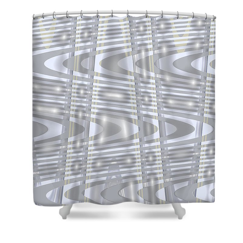 Moveonart! Global Gathering. Branch prosperitywaves -- Digital Abstract Art By Artist Jacob Kane Kanduch -- Omnetra Shower Curtain featuring the digital art Moveonart Prosperitywaves by Jacob Kanduch