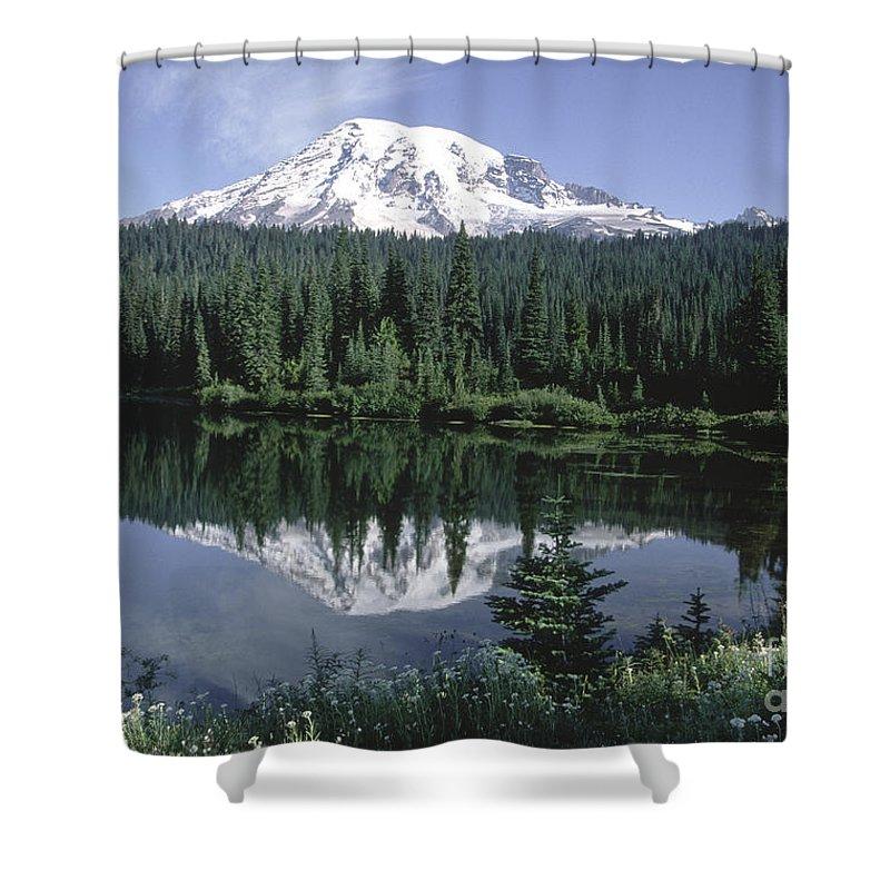 Sandra Bronstein Shower Curtain featuring the photograph Mt. Ranier Reflection by Sandra Bronstein
