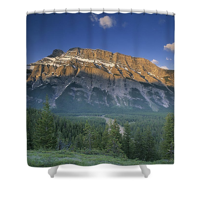 Light Shower Curtain featuring the photograph Mt Rundle And The Bow River by Darwin Wiggett
