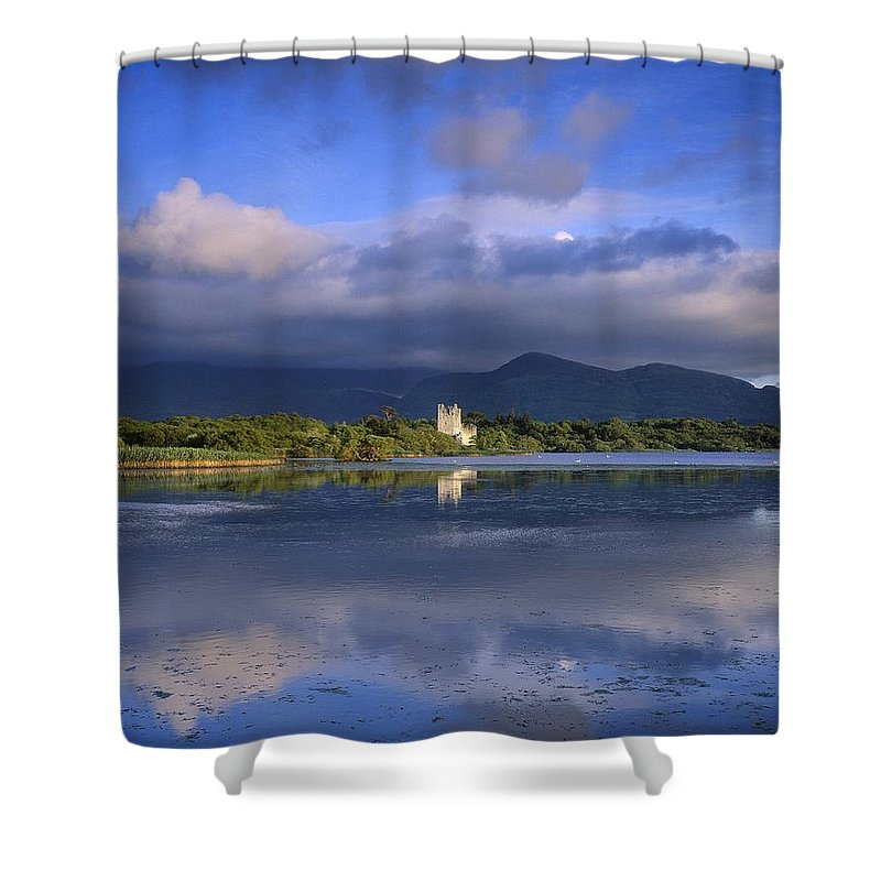 Bay Shower Curtain featuring the photograph Muckross Lake, Ross Castle, Killarney by The Irish Image Collection
