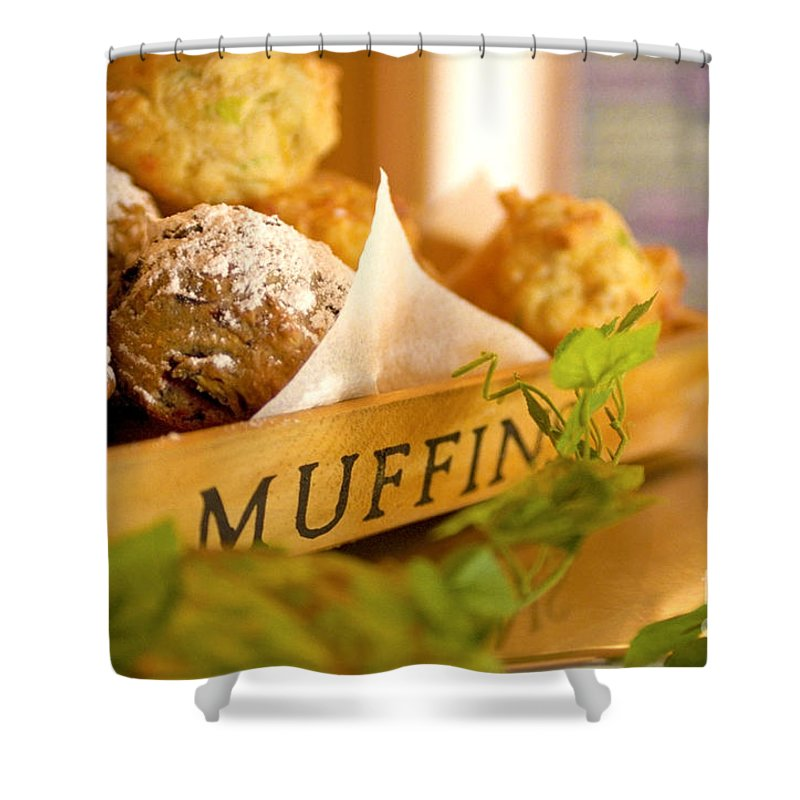 Baking Shower Curtain featuring the photograph Muffins Fresh And Warm by Bruce Stanfield