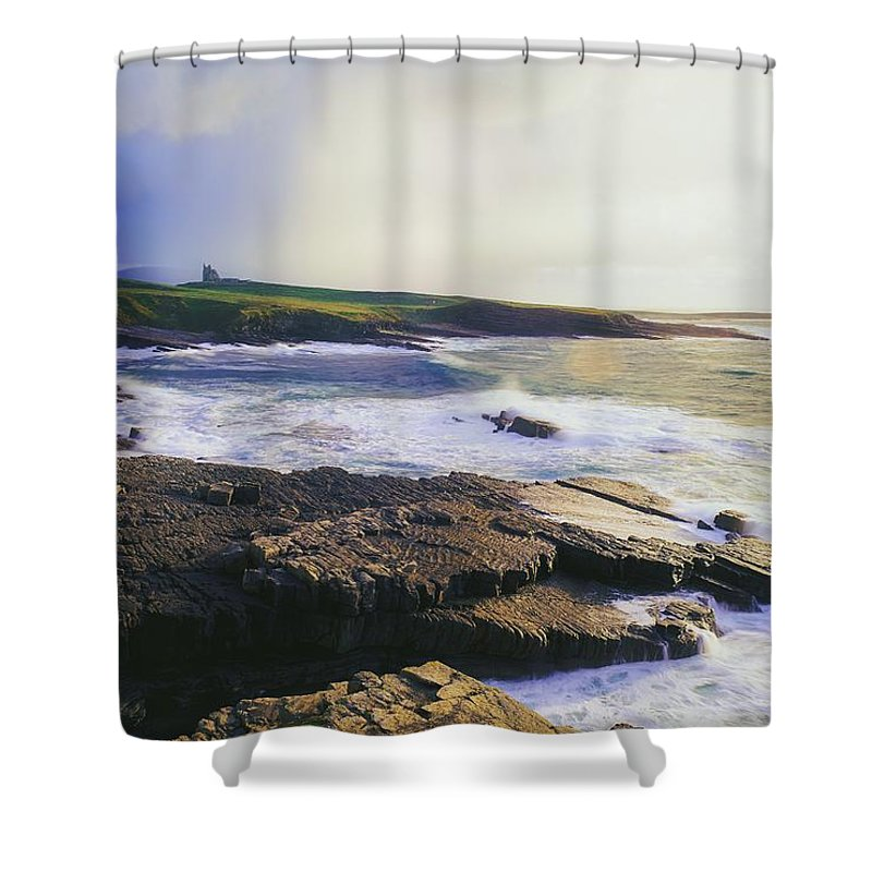 Clare Shower Curtain featuring the photograph Mullaghmore, Co Sligo, Ireland by The Irish Image Collection
