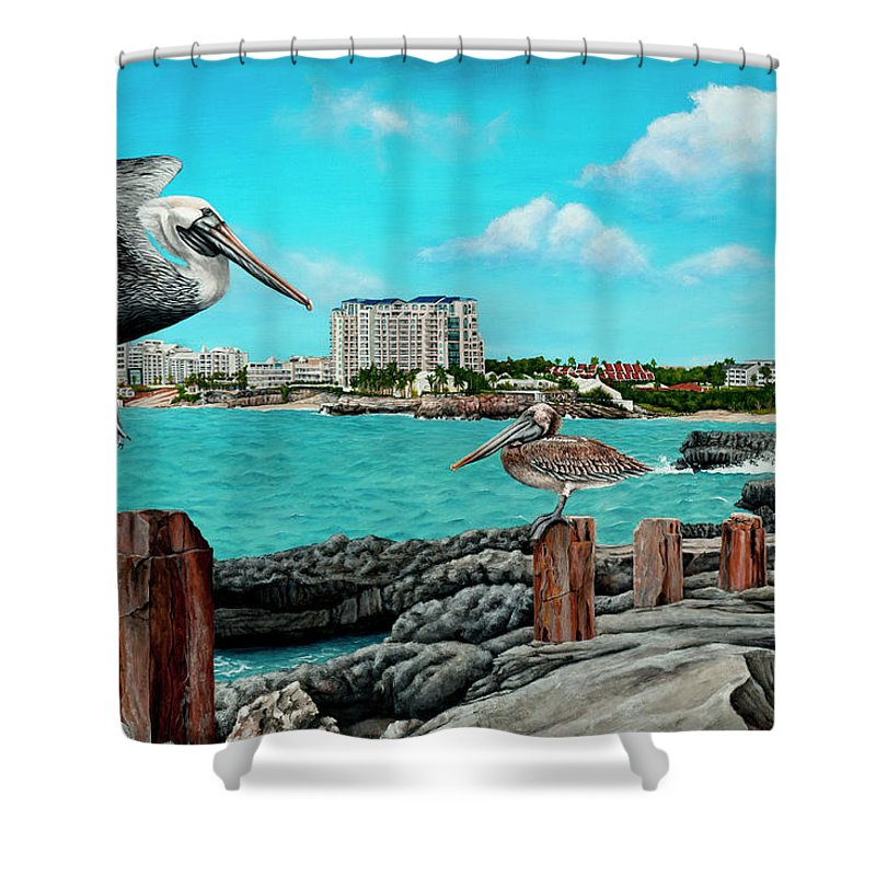 Mullet Bay Shower Curtain featuring the painting Mullet Bay by Cindy D Chinn