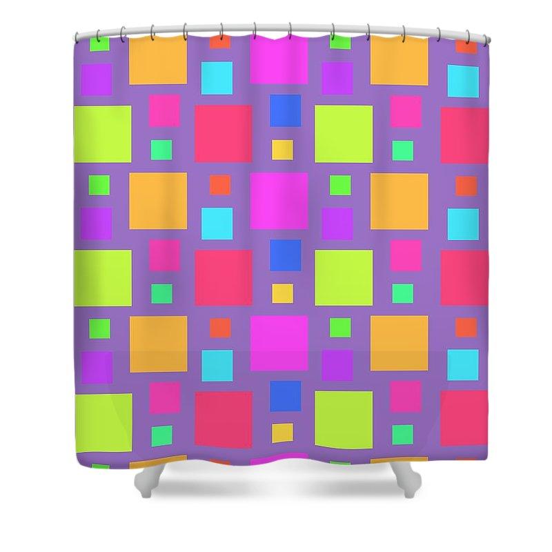 Multicoloured Squares Shower Curtain featuring the digital art Multicoloured Squares by Louisa Knight