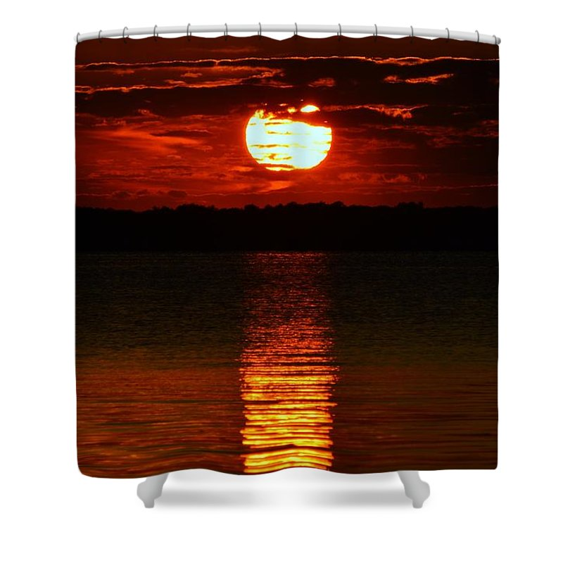 Sun Shower Curtain featuring the photograph Multiline Sunset by William Bartholomew