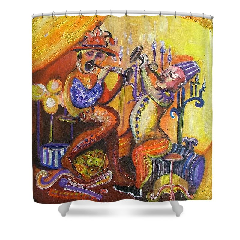 Painting Shower Curtain featuring the painting Musical Evening by Rita Fetisov