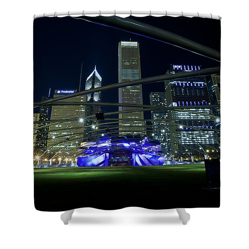 Cj Schmit Shower Curtain featuring the photograph Music In The City by CJ Schmit