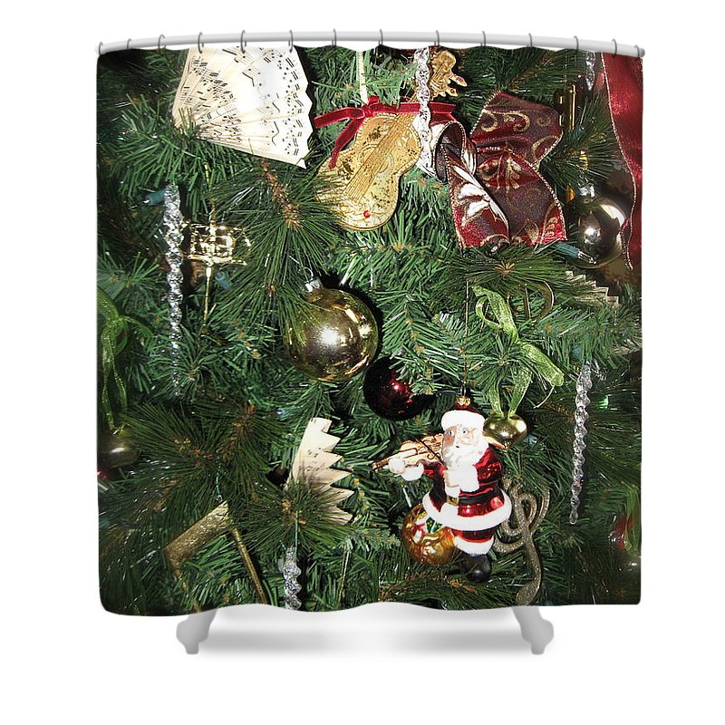 Christmas Tree Shower Curtain featuring the photograph Musical Christmas Tree by Nancy Patterson