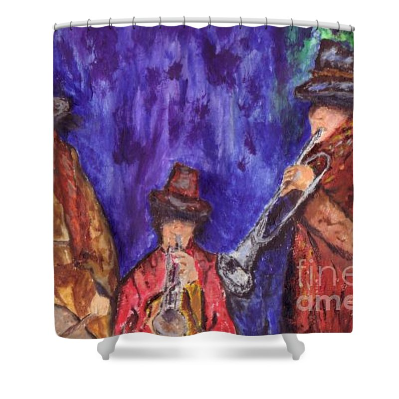 Musicians Shower Curtain featuring the painting Musicians by Shelley Jones