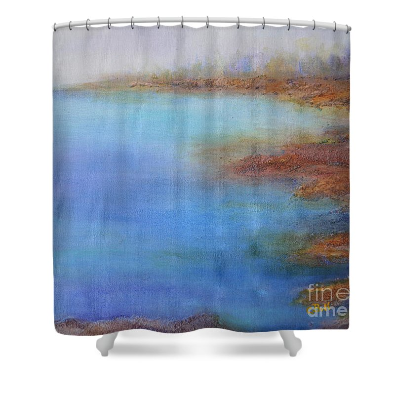 Water Shower Curtain featuring the painting Muskoka Rocks by Claire Bull