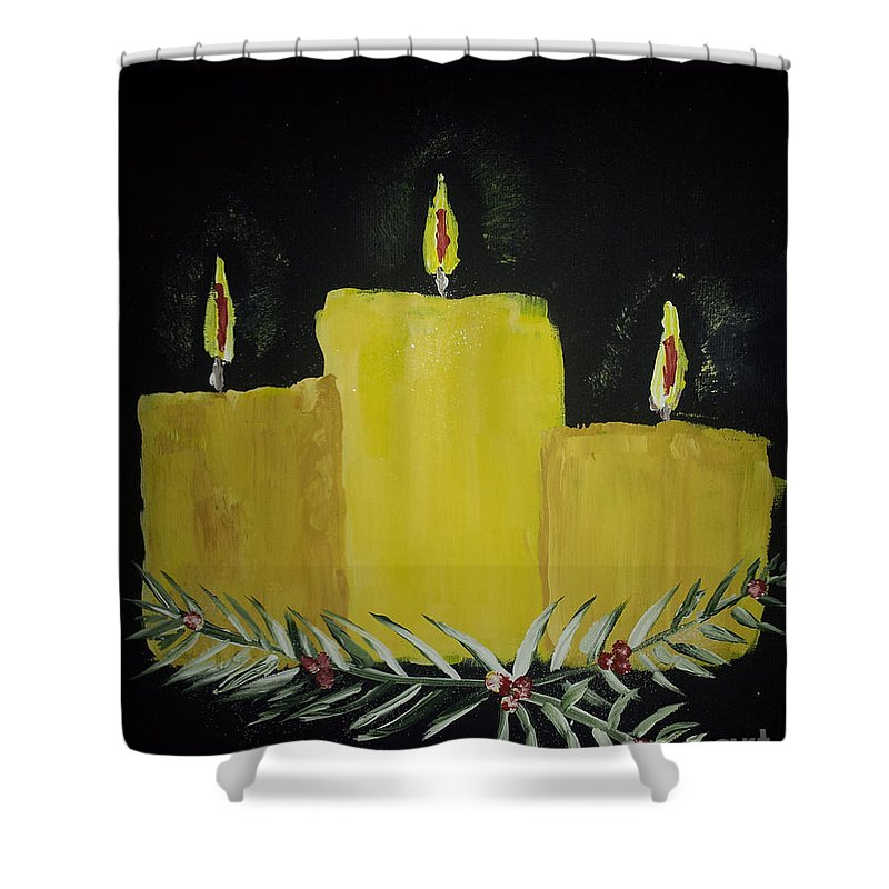 Candles Shower Curtain featuring the painting My First Painting by Donna Brown
