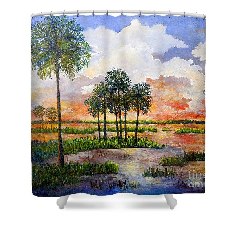 Sunset Shower Curtain featuring the painting Myakka Sunset by Lou Ann Bagnall