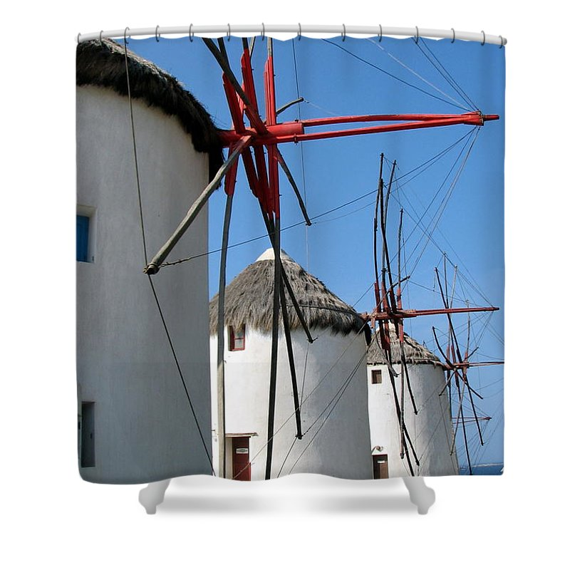 Mykonos Shower Curtain featuring the photograph Mykonos Windmills by Carla Parris