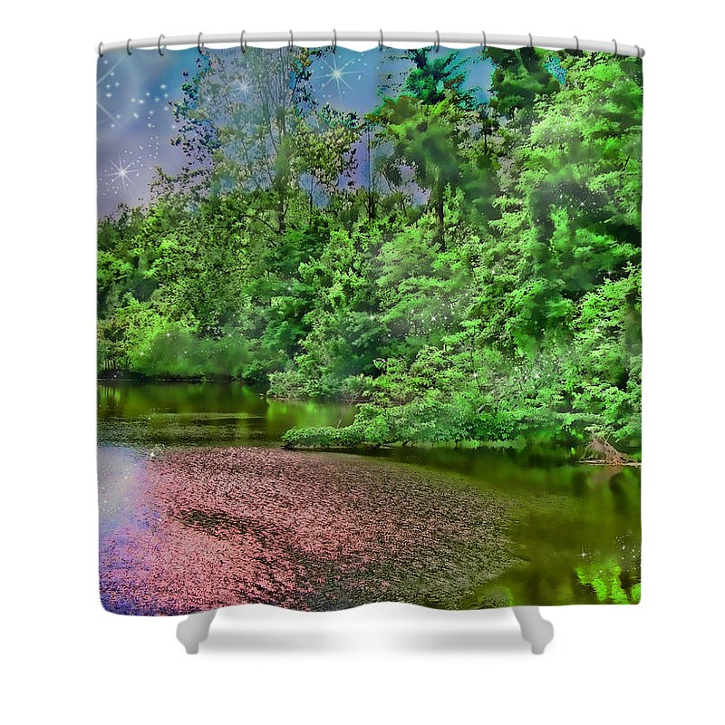 Botanical Shower Curtain featuring the photograph Mystic Lake by Debbie Portwood