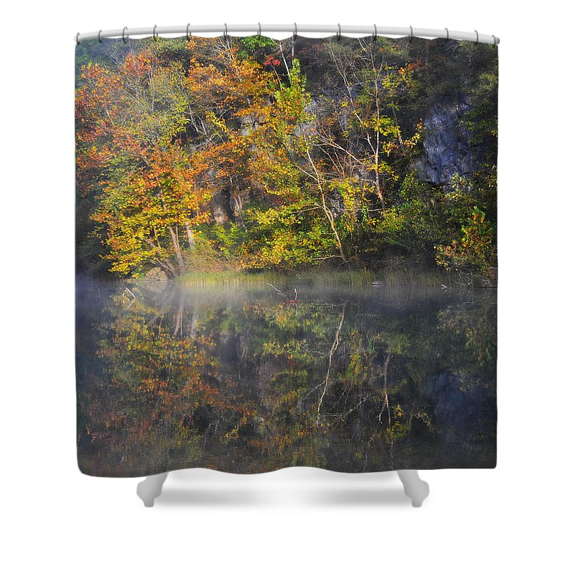 Fall Colors Shower Curtain featuring the photograph Mysty Morn on the Current by Marty Koch
