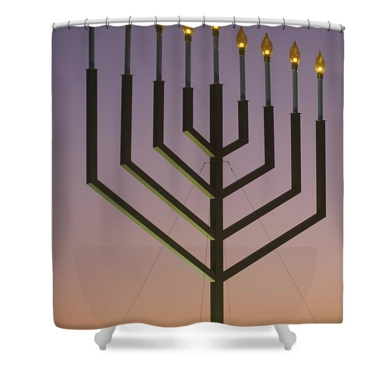 North America Shower Curtain featuring the photograph National Menorah, Elipse, Washington by Richard Nowitz