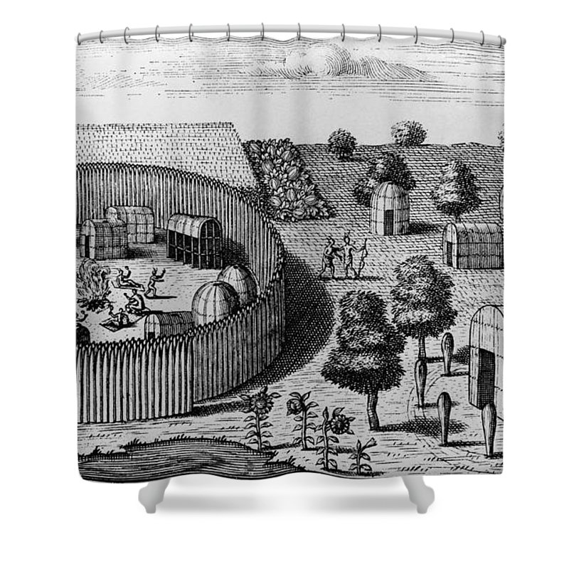 1705 Shower Curtain featuring the photograph Native American Village by Granger